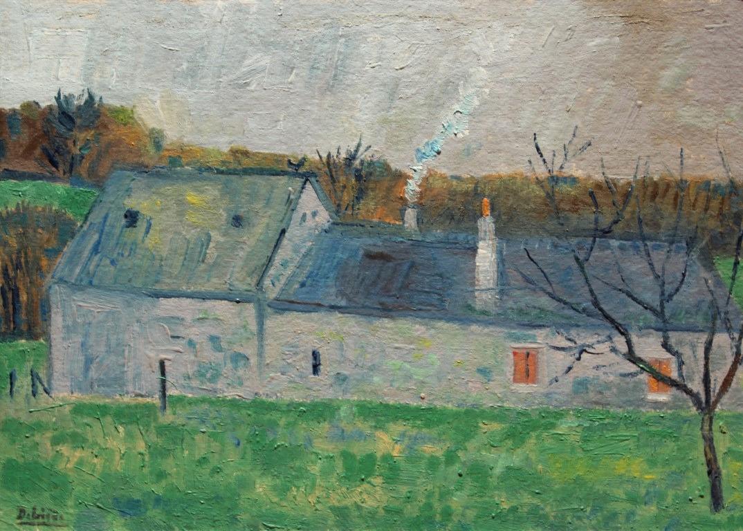 Maison à l cheminée, huile sur bois, 9,5x15cm, en vente