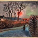 soleil rouge, huile sur carton, 31x35cm, en vente