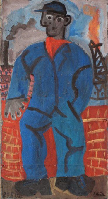 ouvrier, huile sur carton, 44x27cm, en vente