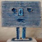tête bleue en carton