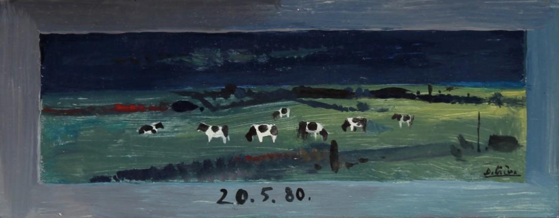 vaches, huile sur bois, 11x23cm, en vente