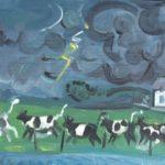 vaches sous l'orage, huile sur bois, 19x40cm, en vente