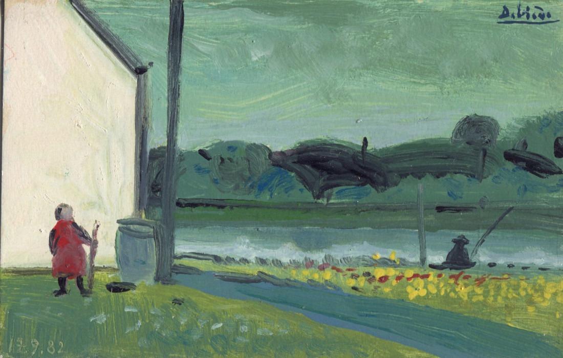 au bord de l'eau, 14x9 cm, 1982