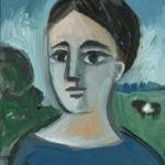 femme à la robe bleue, 11x15cm, 1982