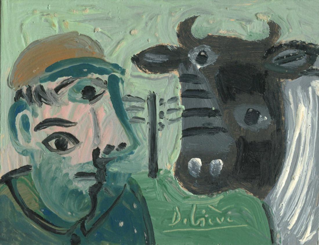 homme et vache, 14x11cm, 1982