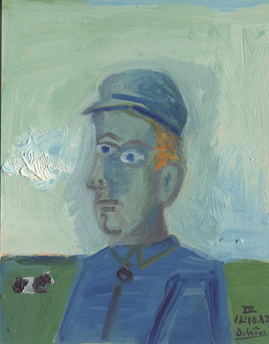 homme à la casquette bleue, 11x14cm, 1982