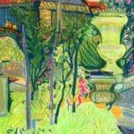 maison rouge et arbustes