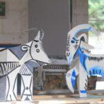 Chèvres, métal peint