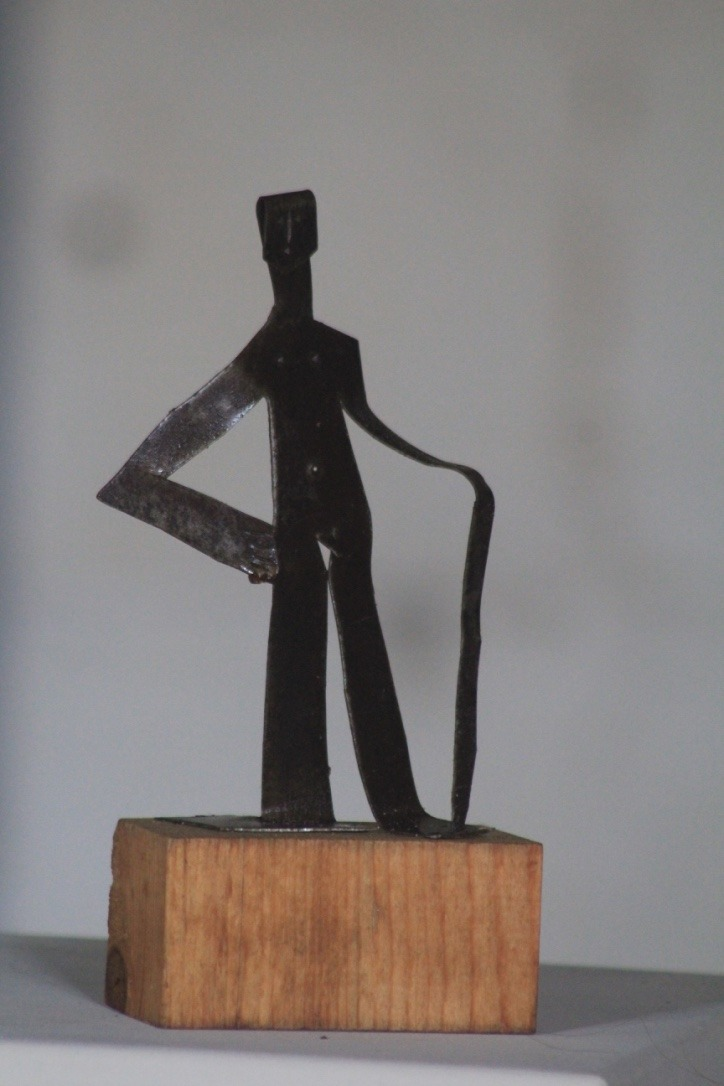 Homme au bâton, métal découpé