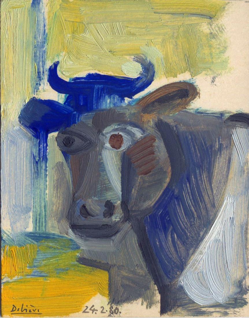 vache bleue, 9x11cm, 1980