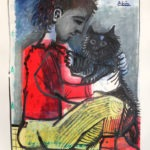 Vincent et son chat, encre sur papier, 50x65cm