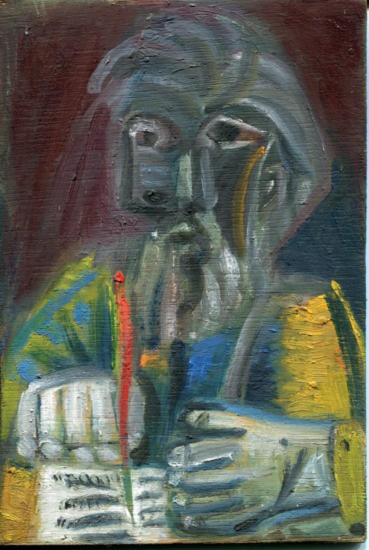 Ecrivain, huile sur bois, 24x21cm - 2003 - en vente : 250€