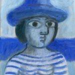 Baigneuse bleue, huile sur bois, 25x18 - 2003 - en vente : 350€