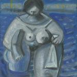 Baigneuse, huile sur bois - 25x20 cm - 12.10.2001 / 2.7.2002. En vente : 350€