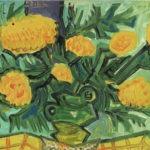 Bouquet, huile sur bois, 27x21 cm - 18.8.74 - en vente : 350€
