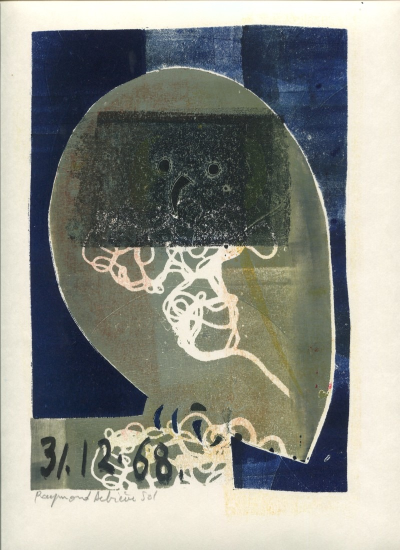 Chouette - 3 - monotype - 31. 12. 68- 32 x 15 cm - en vente : 210€