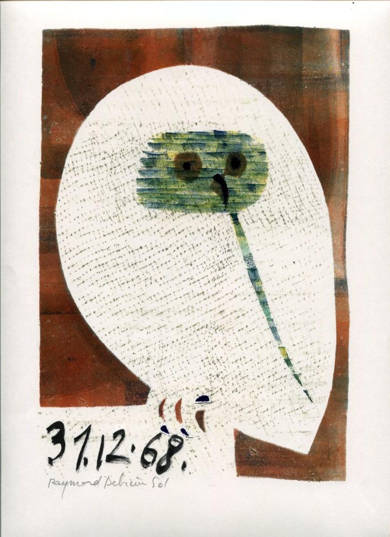 Chouette - 1 - monotype - 31. 12. 68- 32 x 15 cm - en vente : 210€