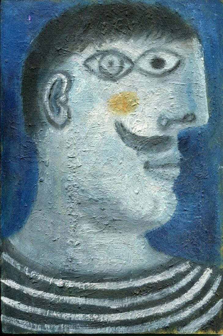 Homme au pull rayé, huile sur bois, 22x15 - 1992/2011 - en vente : 300€