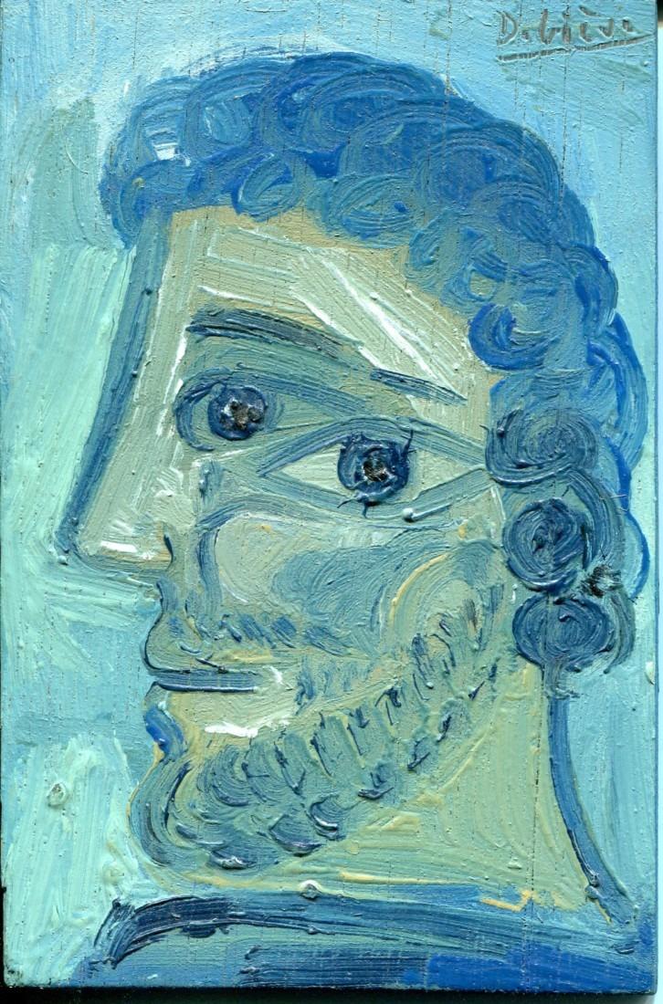 Homme bleu frisé, huile sur bois, 15x10cm - 1978 - en vente : 150€