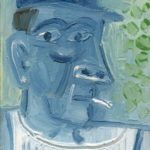 Homme bleu, huile sur bois, 15x10 cm - 1979 - en vente : 150€