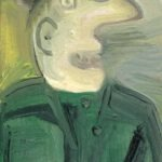 Homme et oiseau, huile sur bois, 22x10cm - 1978 - en vente : 250€
