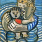 Père et enfant à la mer, huile sur bois, 24x16cm - 1993/2003 - en vente : 350 €