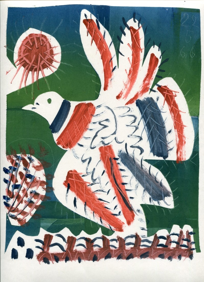 Pigeon - monotype - 22. 5. 66 - 32 x 15 cm - en vente : 210€