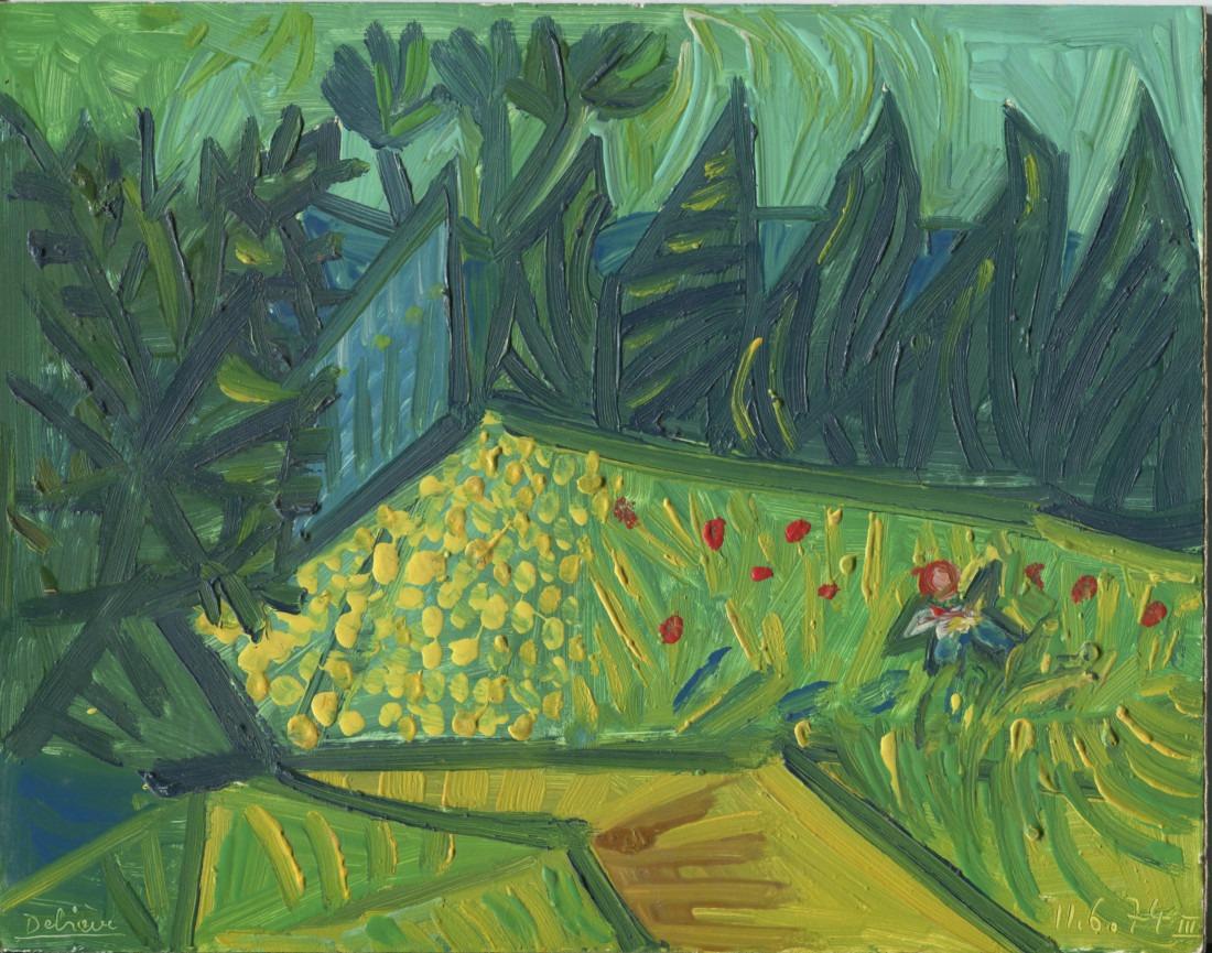 Provence1, huile sur carton, 27x21,5 cm, 11.6.74 - en vente : 200€