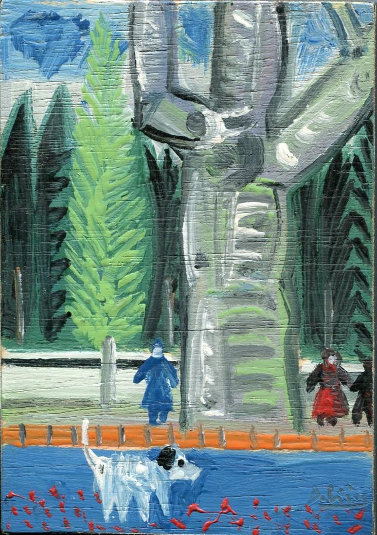 Rue bleue, huile sur bois, 14x10cm - 1978 - en vente : 200 €