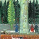 Rue rouge, huile sur bois, 14x10cm - 1978 - en vente : 200 €