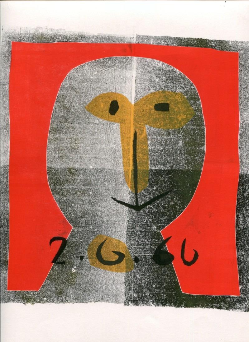 Tête - 2 - monotype - 2. 6. 66 - 32 x 15 cm - en vente : 210€ - Acheter sur CHOUETTE galerie