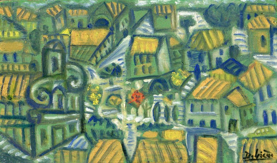 Village, huile sur bois, 11x19cm - 1993 - en vente : 350 €