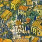 Village jaune, huile sur bois, 15x22cm - 1993 - en vente : 350 €