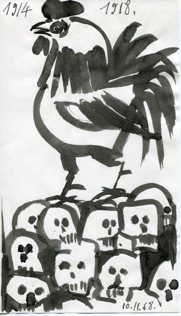 14-18 coq - encre de Chine de Raymond Debiève
