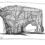 Taureau - IX, Raymond Debiève, dessin au feutre