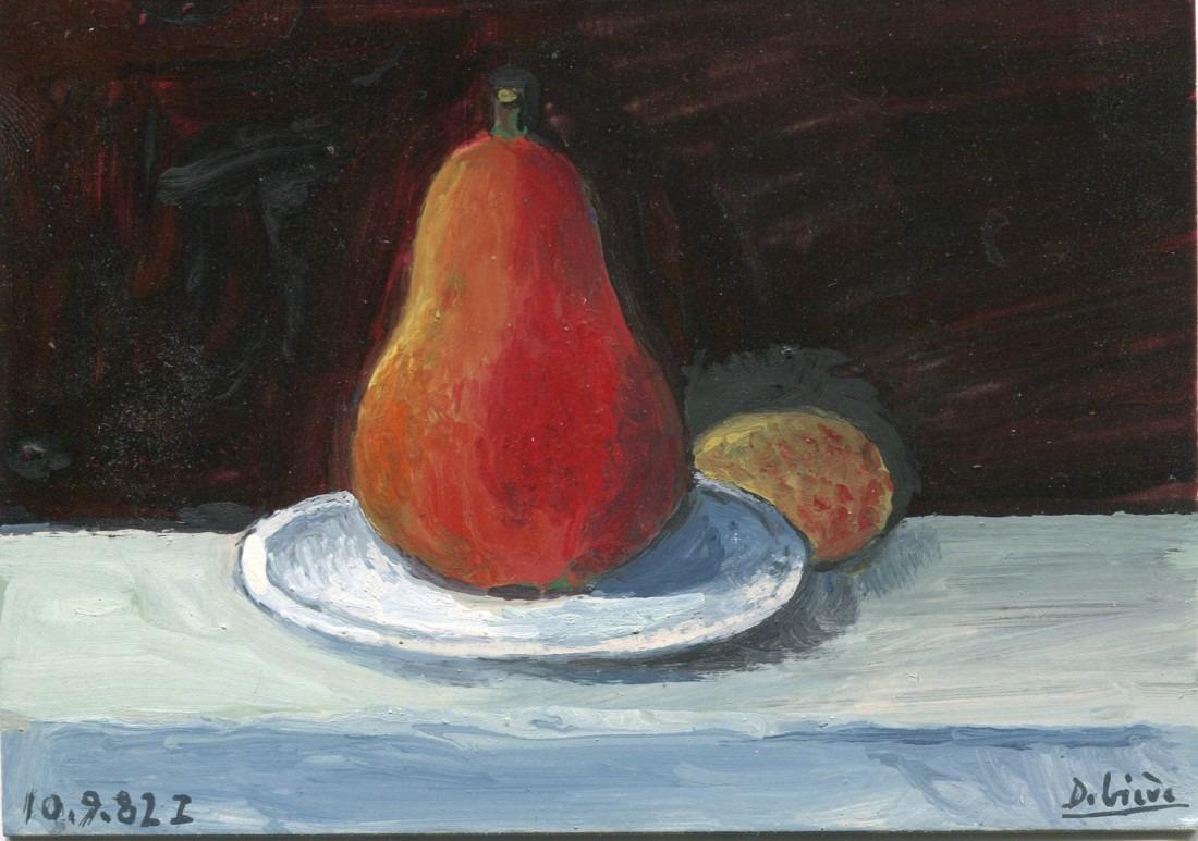 nature morte à la poire - huile sur carton - Raymond Debiève - 1982 - 9x13 cm