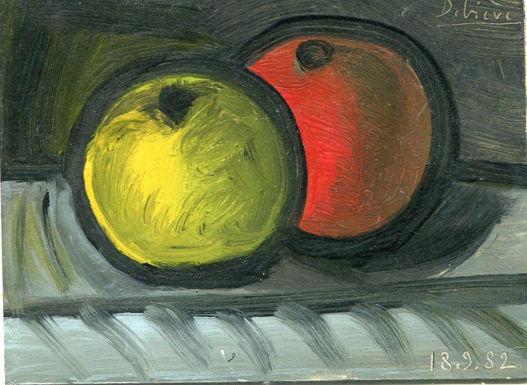 deux pommes - huile sur carton - Raymond Debiève - 1982 - 6,5x9 cm