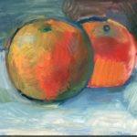 deux pommes - huile sur carton - Raymond Debiève - 1982 - 9x13,5 cm