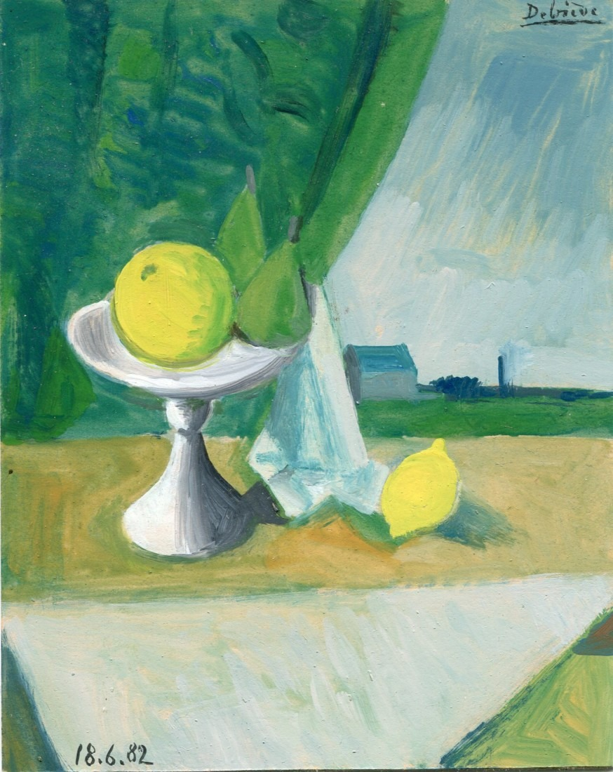 nature morte au citron - huile sur carton - Raymond Debiève - 1982 - 11x15 cm