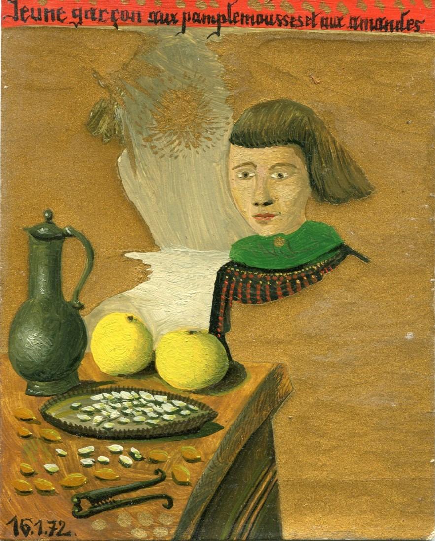 jeune garçon - huile sur carton - Raymond Debiève - 1972 - 14x11 cm