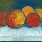 fruits - huile sur carton - Raymond Debiève - 1982 - 14x9 cm