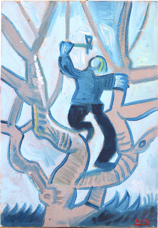 Debiève - bûcheron bleu - 57 x 40 cm