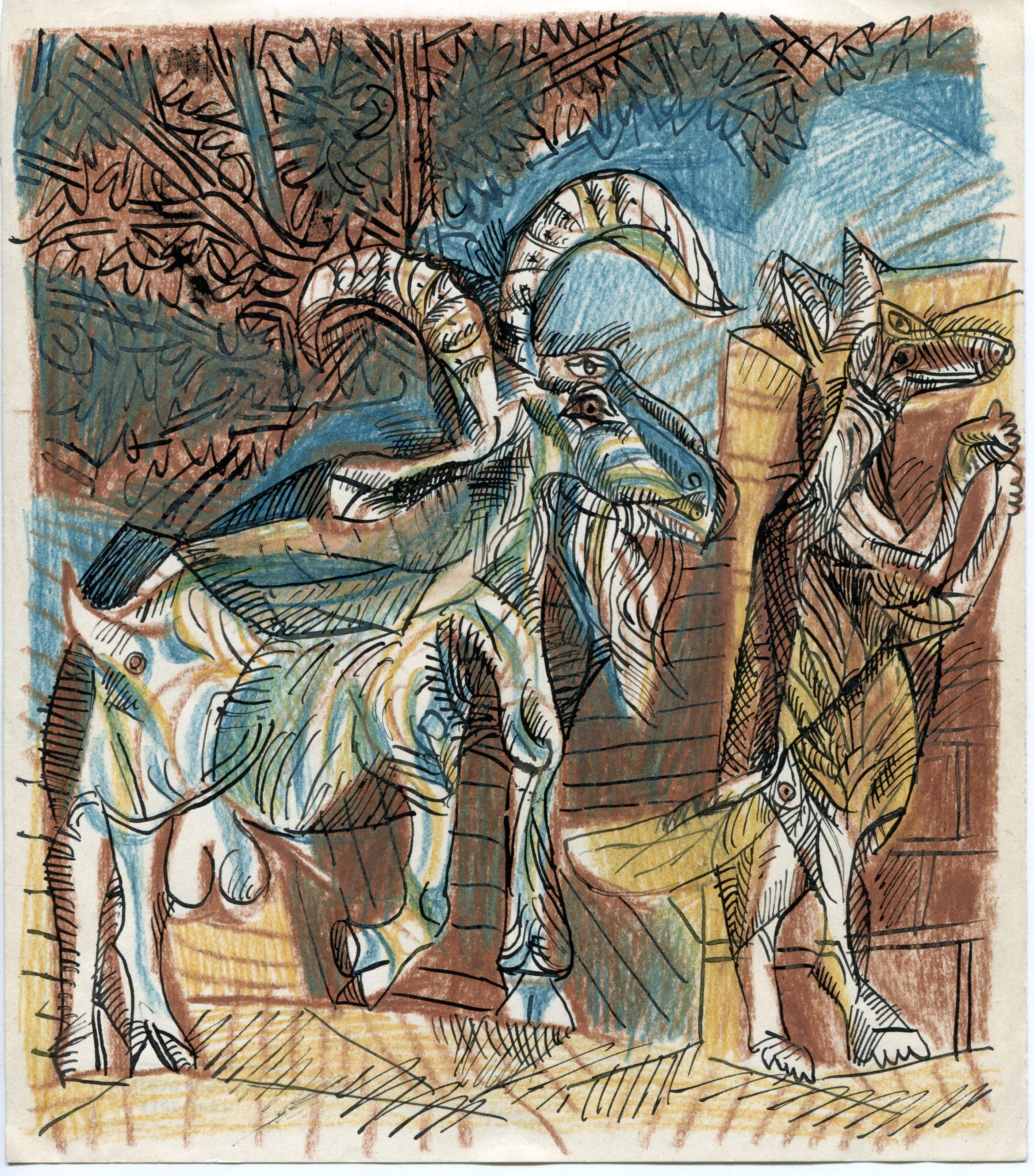 chèvre et loup encre craie - 22,5x 19,5 cm