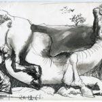 Debiève - cheval encre de chine - 13,5 x 21 cm