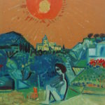 Debiève - lecteur et lapin orange en Provence - 58 x 46 cm