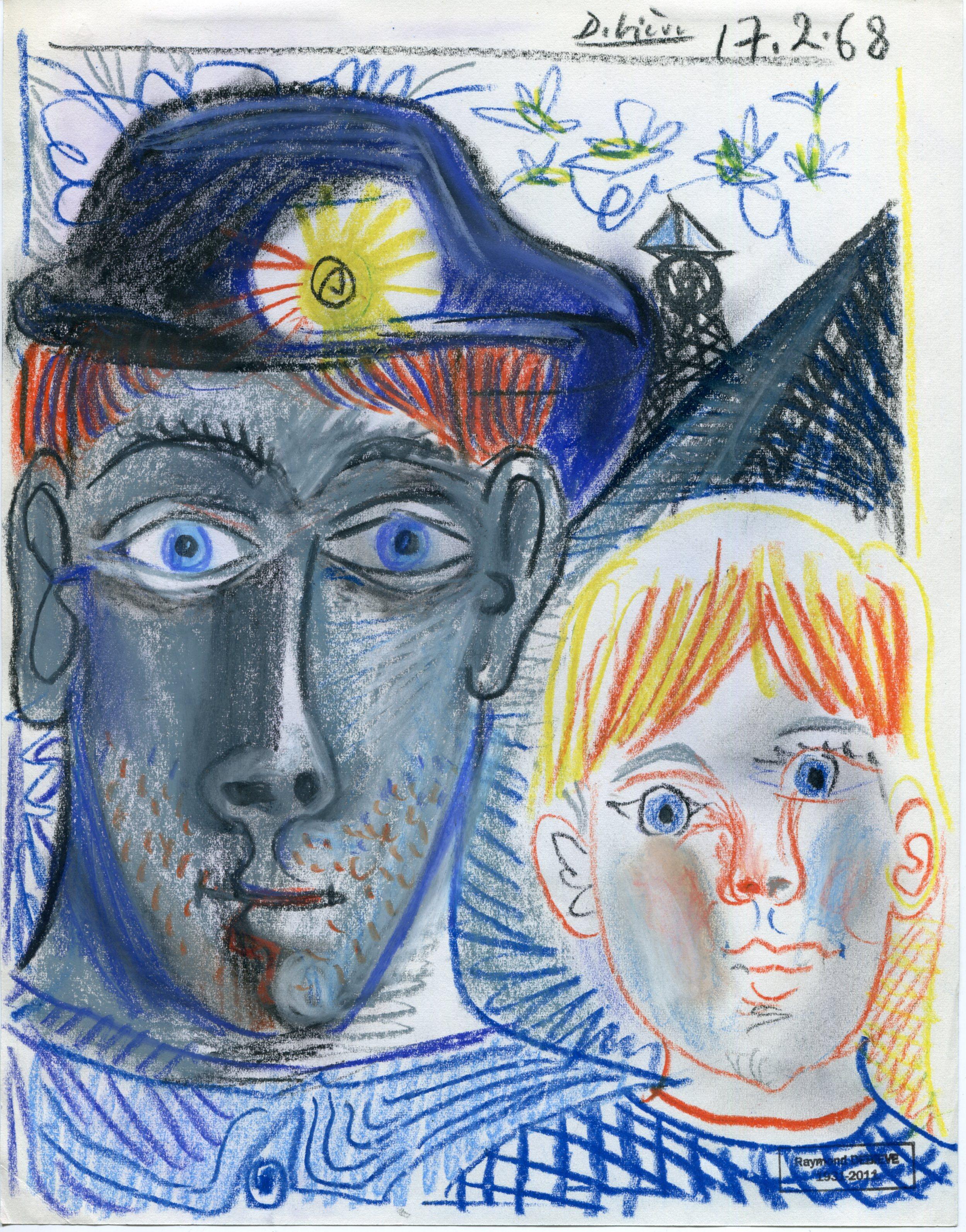 mineur et son fils - 27 x 21 cm