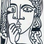 portrait femme feutre - 21 x 14 cm