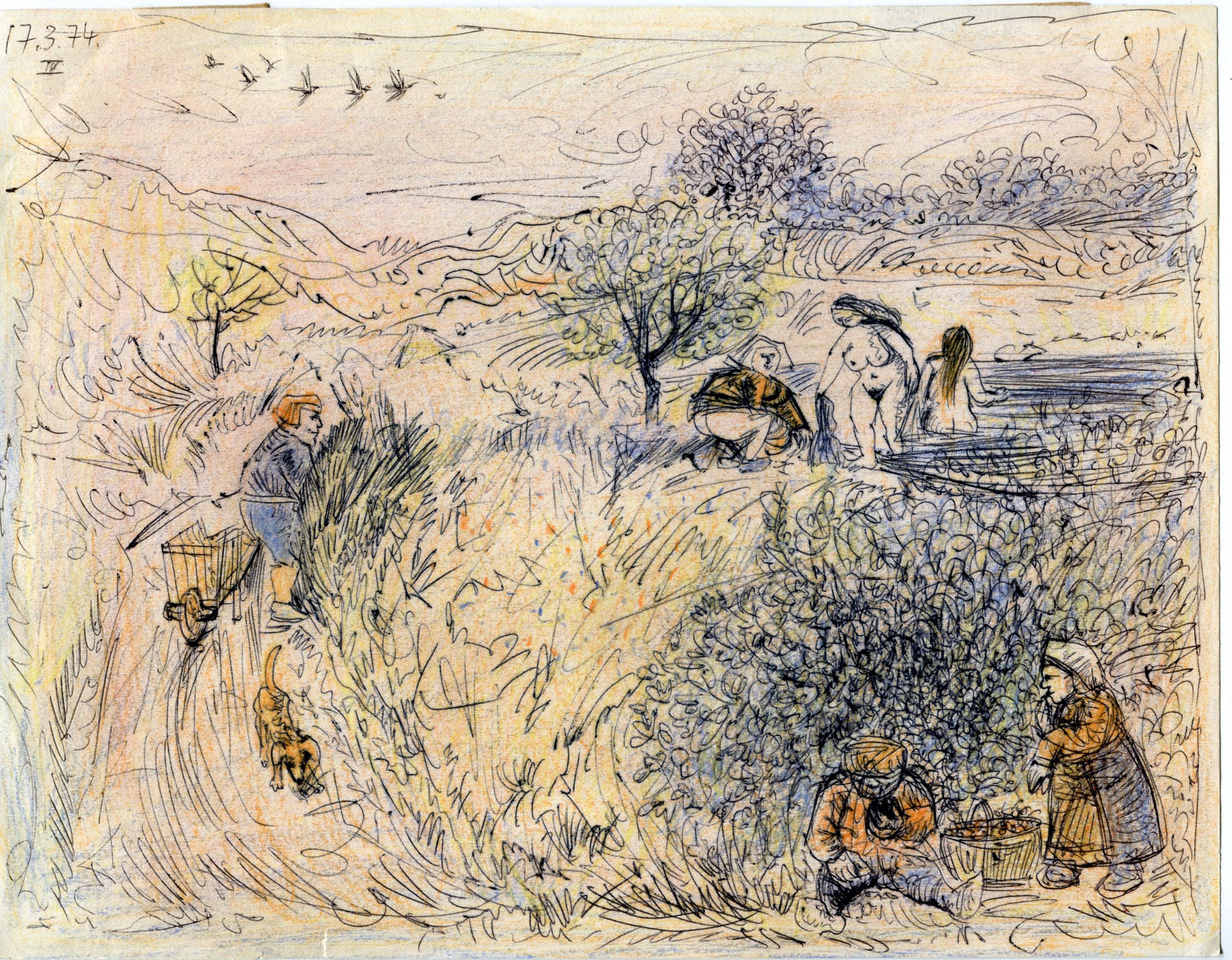 scène champêtre - 21 x 27 cm