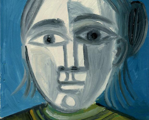 Portrait aux cheveux gris - Raymond Debiève - 27x21cm - 1982